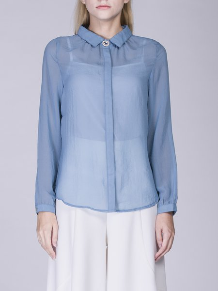 Chiffon Shirt Collar Long Sleeve Buttoned Simple Blouse