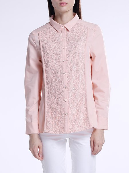 Pink Cotton Buttoned H-line Simple Paneled Blouse