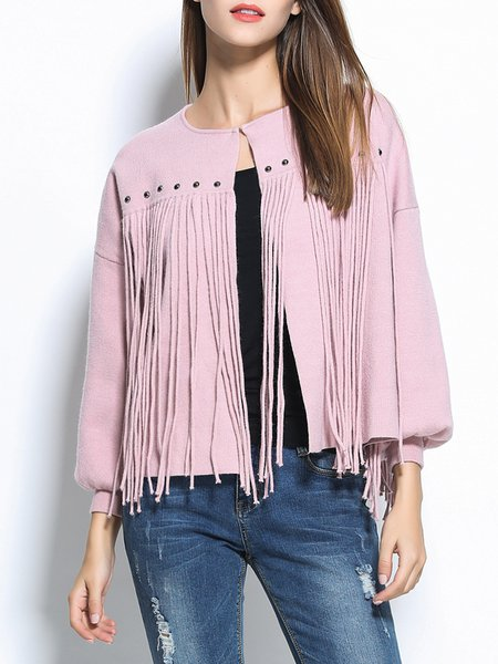 Casual Fringed Balloon Sleeve H-line Coat