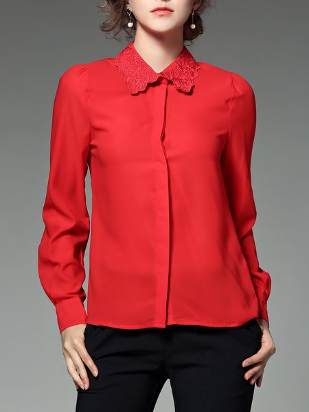 Cotton-blend Embroidered Plain Simple Long Sleeve Blouse