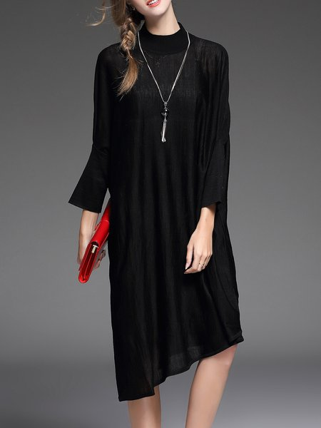 Long Sleeve Turtleneck Casual Solid Wool Blend Midi Dress
