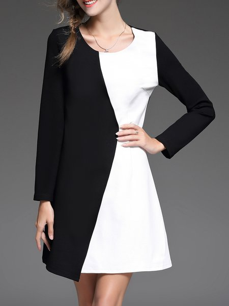 Black Color-block Plain Elegant Mini Dress