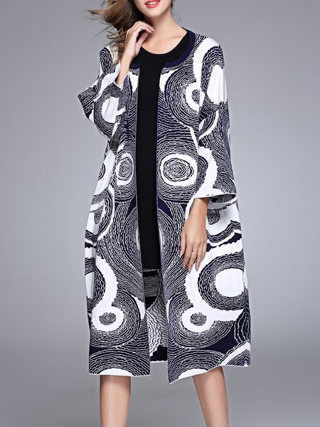 Dark Blue Geometric Cotton-blend Elegant H-line Coat