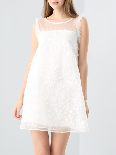 White Casual Floral Paneled Crew Neck Mini Dress