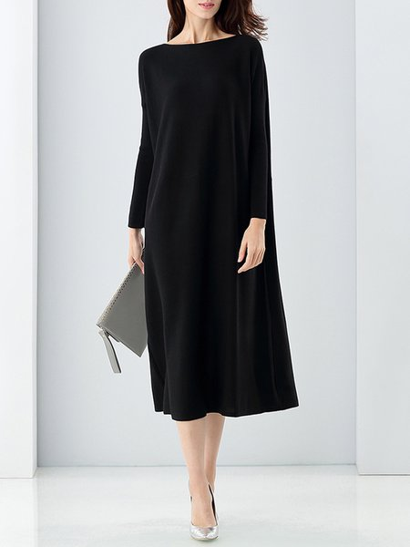 Black Shift Polyester Casual Boat Neck Midi Dress