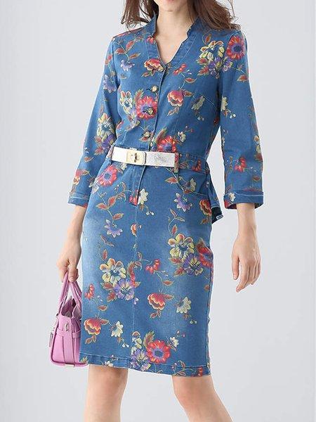 Blue Casual H-line Floral-print Midi Dress