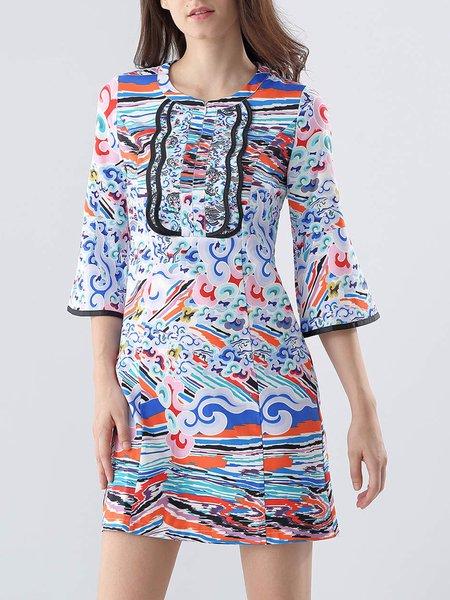 Multicolor Casual Abstract Mini Dress