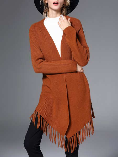 Brown Long Sleeve Fringed Solid Cardigan