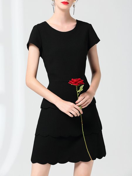 Short Sleeve Crew Neck Solid Casual Midi Dress