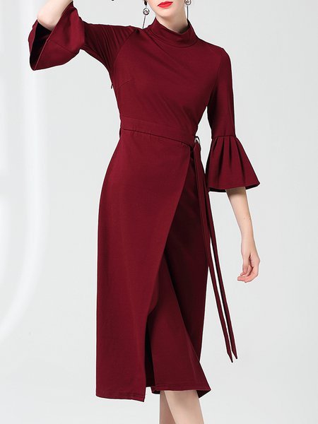 Stand Collar Midi Dress Sheath Party Bell Sleeve Solid Dress