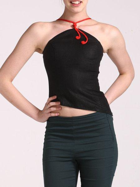 Black Sexy Linen Mandarin Swan Camis
