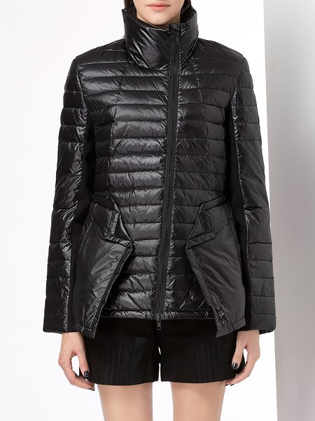 Black Nylon Casual Paneled Down Coat