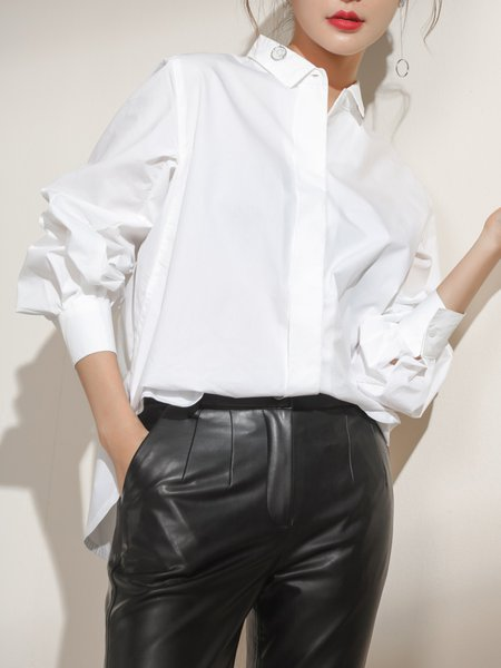 White Long Sleeve Shirt Collar Blouse
