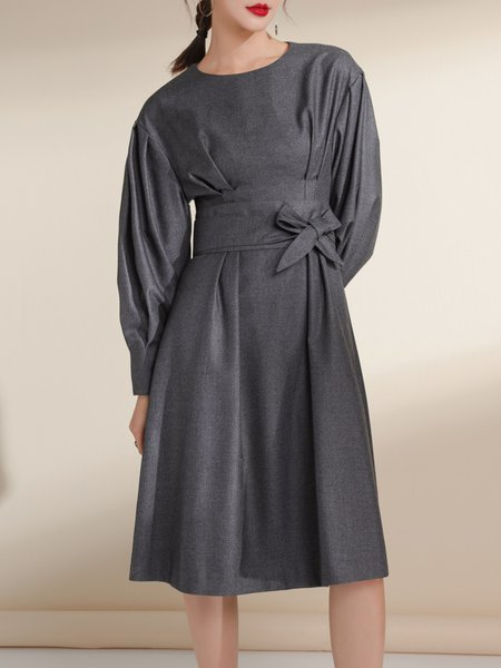 Gray Solid Folds Simple Midi Dress
