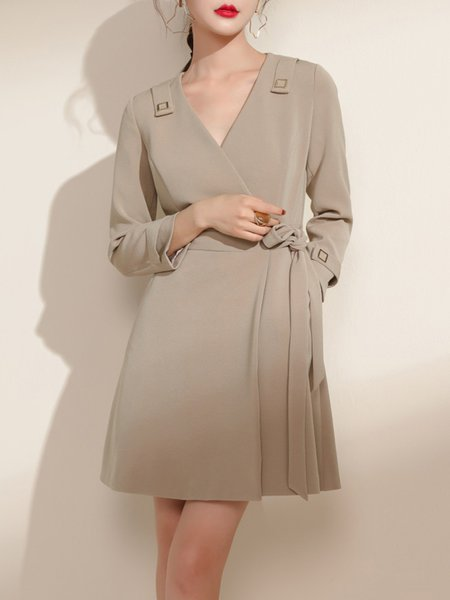 Long Sleeve Solid Surplice Neck Simple Polyester Mini Dress