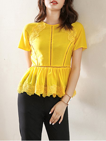 Yellow Ruffled Sweet Appliqued Short Sleeved Top