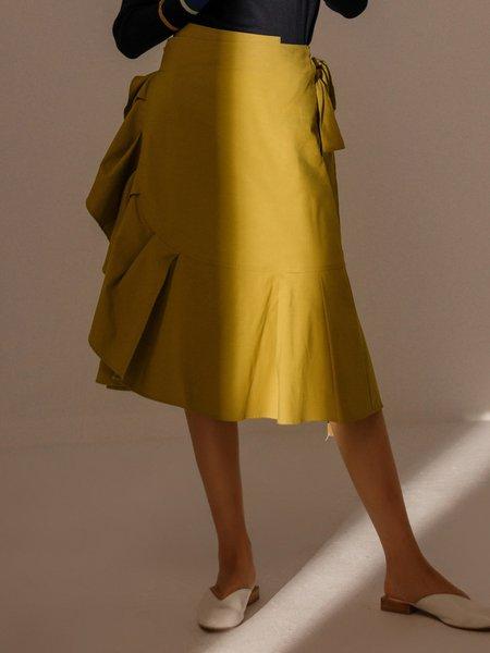 Yellow Statement Ruffled Polyester Midi Skirt
