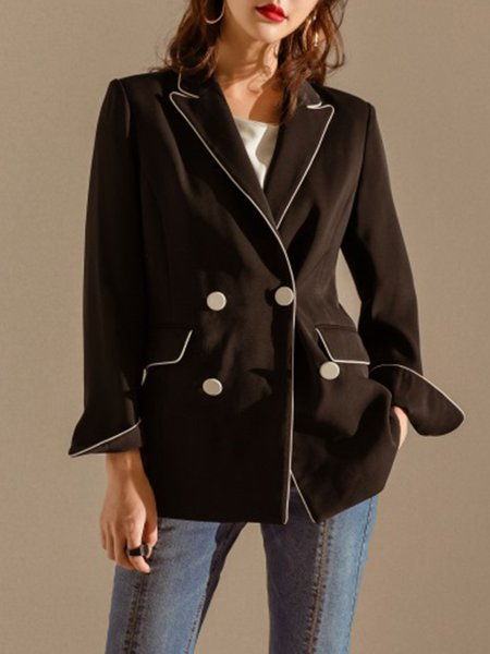 Black Buttoned Long Sleeve Plain Blazer