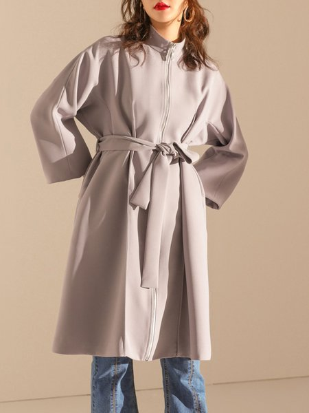 Gray Simple Plain Pockets Coat