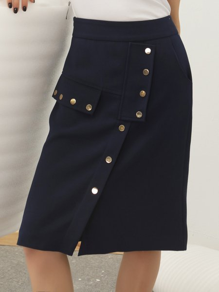Dark Blue Solid Split Sheath Casual Buttoned Midi Skirt - StyleWe.com