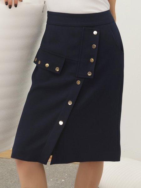 Dark Blue Solid Split Sheath Casual Buttoned Midi Skirt - StyleWe.com