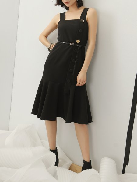 Black Mermaid Solid Spaghetti Square Neck Midi Dress