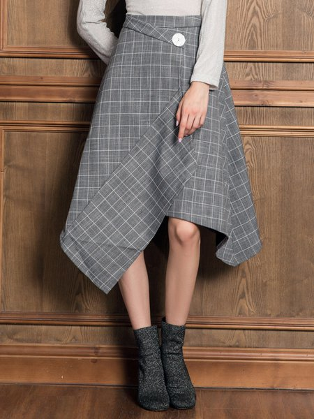 Asymmetric Printed Checkered/Plaid Casual Midi Skirt