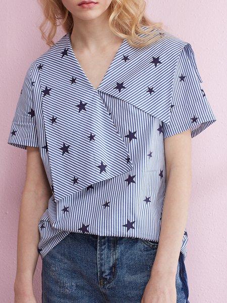 H-line Geometric Casual Short Sleeve Cotton Blouse