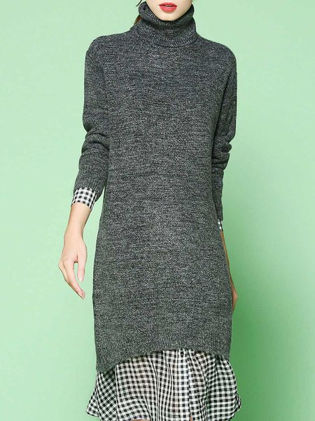 Gray Simple Knitted Turtleneck Sweater
