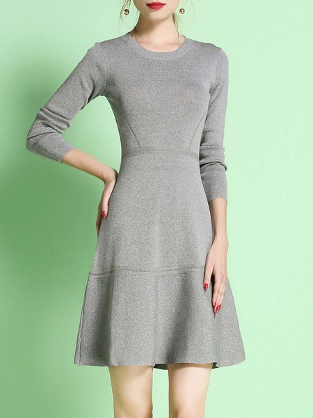 Gray A-line Long Sleeve Midi Dress
