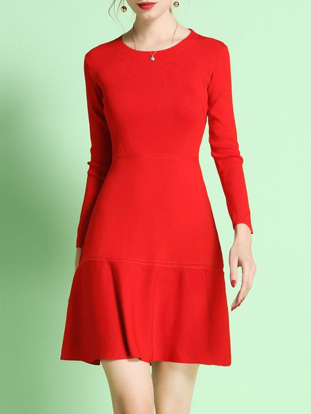 Red Crew Neck A-line Long Sleeve Midi Dress