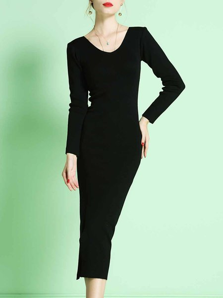 Black Crew Neck Slit Long Sleeve Midi Dress