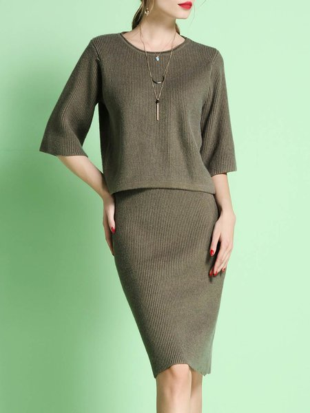 Army Green Crew Neck Knitted Two Piece 3/4 Sleeve Midi Dress