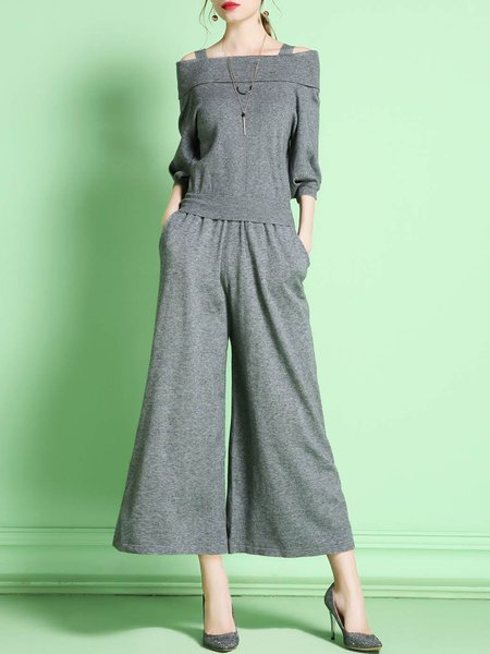 Gray Off Shoulder Two Piece Elegant Jumpsuit