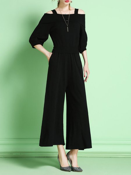 Black Two Piece Knitted Plain 3/4 Sleeve Off Shoulder Jumpsuit