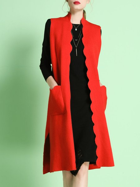Red Elegant Plain Sleeveless Wavy Knitted Slit Cardigan