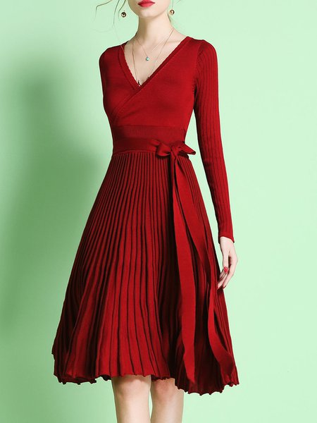 Red Casual Pleated Sweater Dress