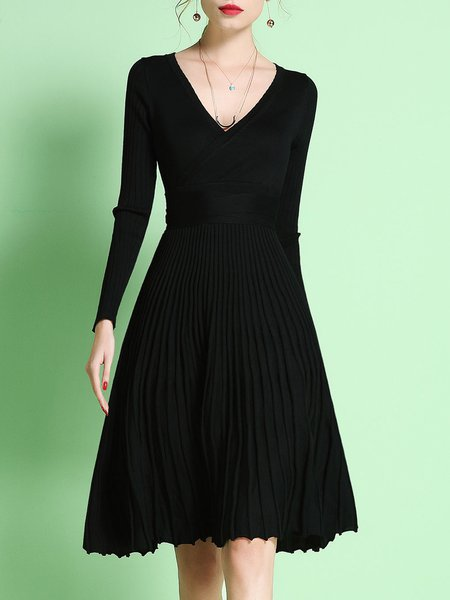 Long Sleeve Casual A-line Pleated Sweater Dress