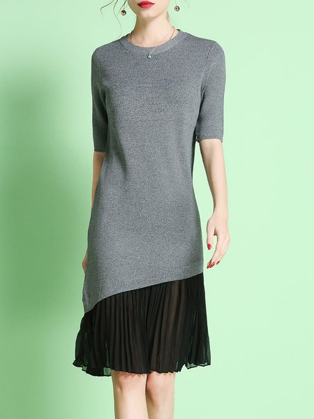 Gray Crew Neck Pleated Casual Midi Dress