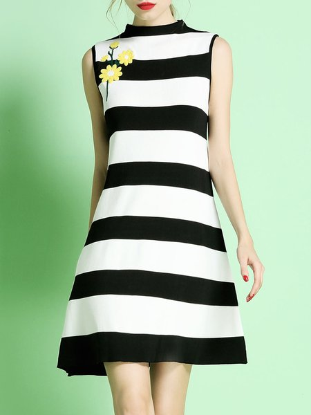 Sleeveless Girly Stripes Mini Dress