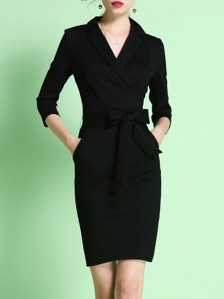 Black Knitted Lapel 3/4 Sleeve Midi Dress