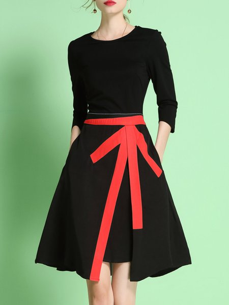 Black 3/4 Sleeve Crew Neck A-line Midi Dress