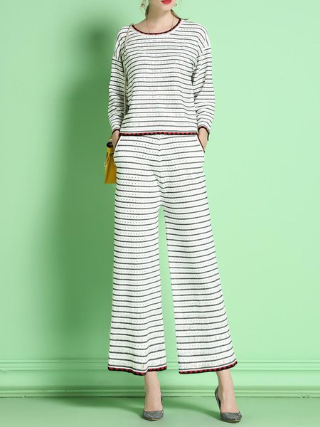 White Two Piece Stripes Printed Long Sleeve Jumpsuit