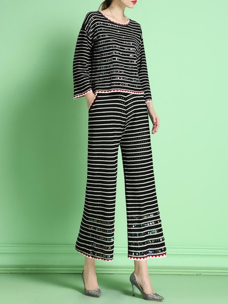 Black Two Piece Stripes Knitted Long Sleeve Jumpsuit