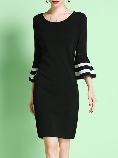 Black Elegant Crew Neck Bell Sleeve Stripes Sheath Midi Dress