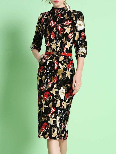 Floral-print 3/4 Sleeve Vintage Midi Dress