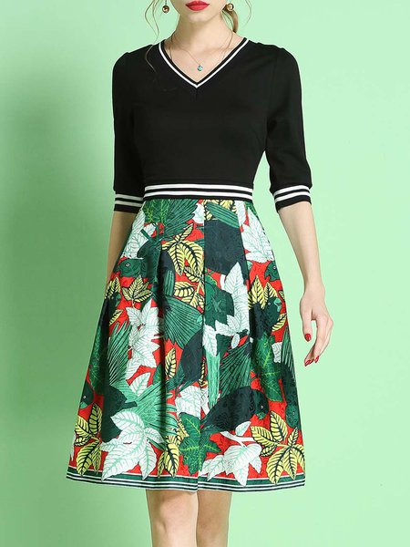 Multicolor A-line Casual Printed Midi Dress