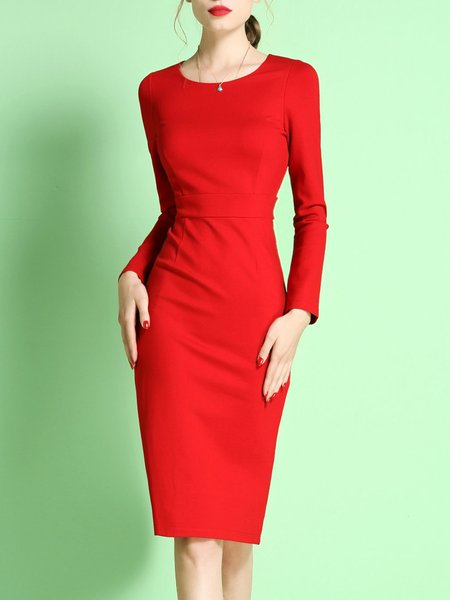 Red Long Sleeve Sheath Midi Dress