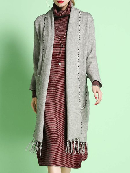 Gray Fringed Pockets Casual Coat
