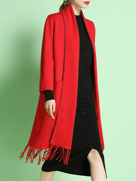 Red Fringed Shift Plain Long Sleeve Coat